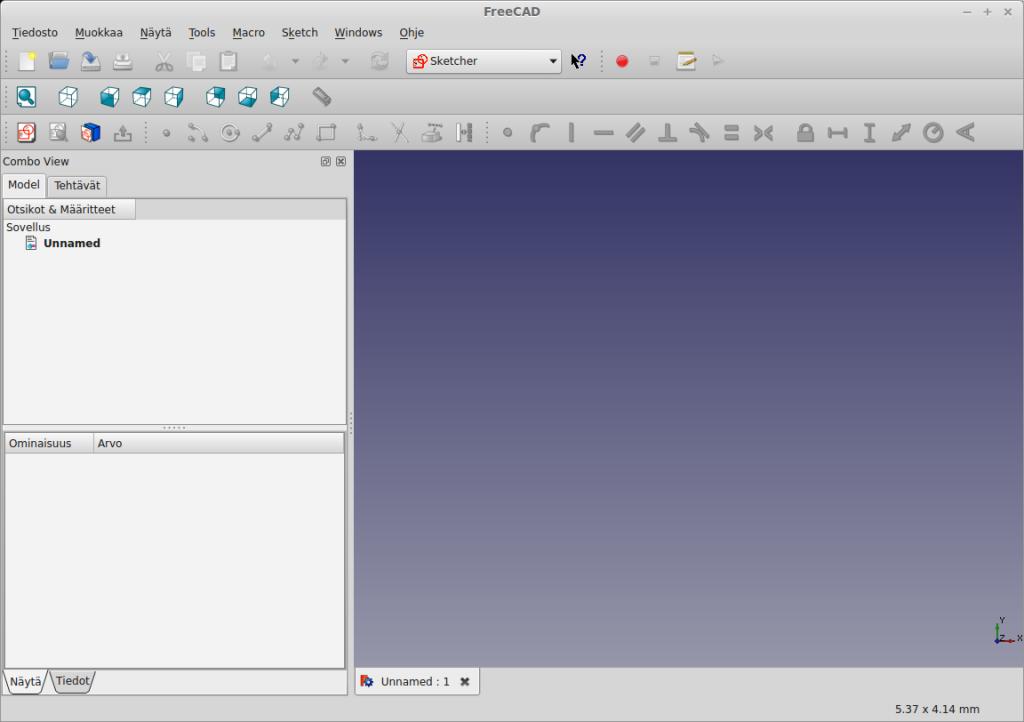 FreeCAD Sketcher ikkuna